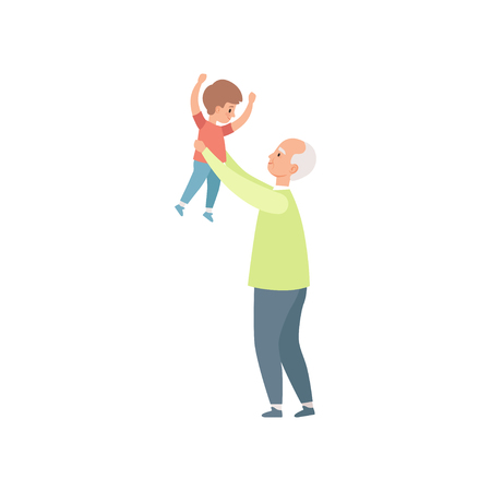 Grandpa holding little grandson, grandfather spending time playing with grandson vector Illustration on a white background Illustration