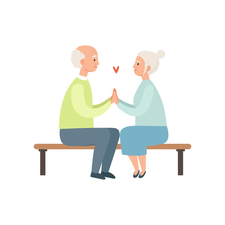 Senior man and woman sitting on a park bench, elderly romantic couple in love vector Illustration on a white background Vettoriali