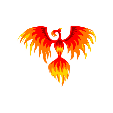 Phoenix, flaming mythical firebird vector Illustration on a white background  イラスト・ベクター素材