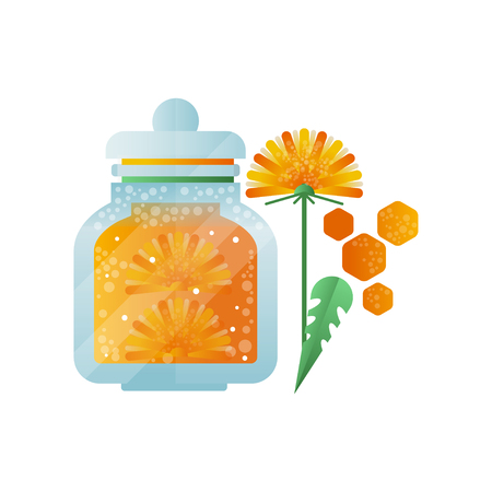 Glass jar of honey and dandelion flower, natural herbal organic product vector Illustration on a white background