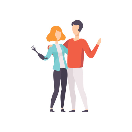Young woman with artificial arm and her boyfriend embracing each other, disabled person enjoying full life vector Illustration on a white background  イラスト・ベクター素材