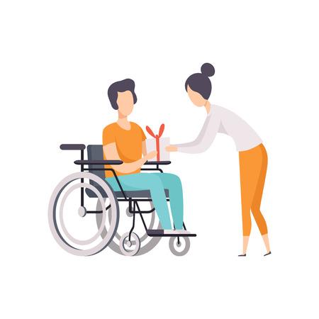Jonge vrouw een cadeau geven aan man in rolstoel, gehandicapte persoon genieten van volledige leven vector illustratie op een witte achtergrond