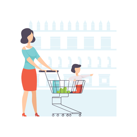 Young woman choosing products with her son sitting in shopping cart, mother and her kid shopping at supermarket vector Illustration on a white background Illustration
