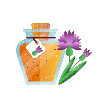 Glass jar of honey and carnation flower, natural herbal organic product vector Illustration on a white background