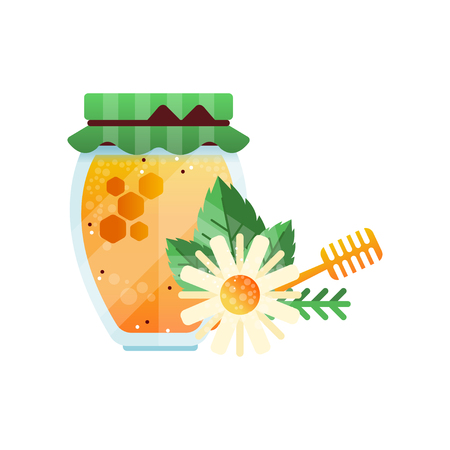 Glass jar of honey and chamomile flower, natural herbal organic product vector Illustration on a white background Illusztráció