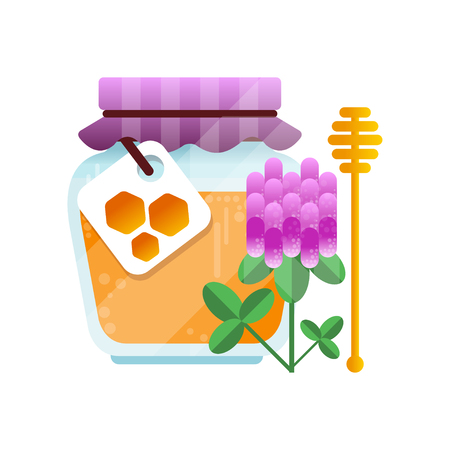 Glass jar of honey and clover flower, natural herbal organic product vector Illustration on a white background.