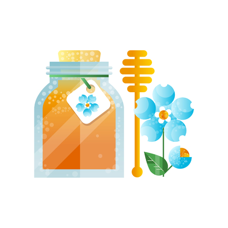 Glass jar of honey and blue flower, natural herbal organic product vector Illustration on a white background Banco de Imagens - 102522057