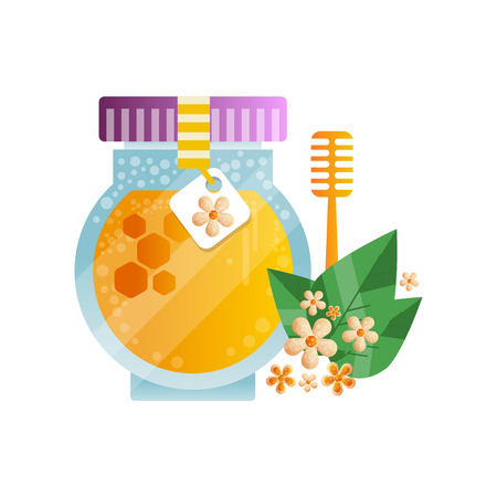 Glass jar of honey and linden flowers and leaves, natural herbal organic product vector Illustration on a white background
