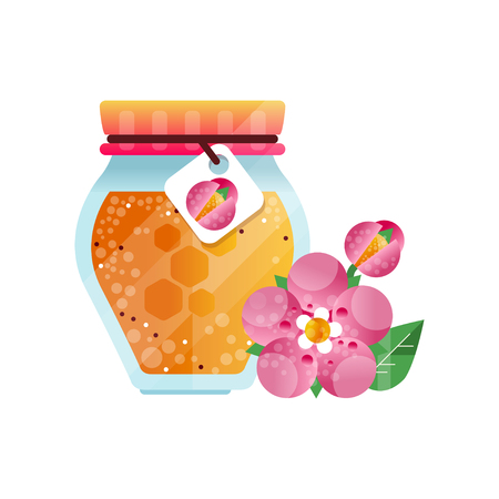 Glass jar of honey and pink flower, natural herbal organic product vector Illustration on a white background