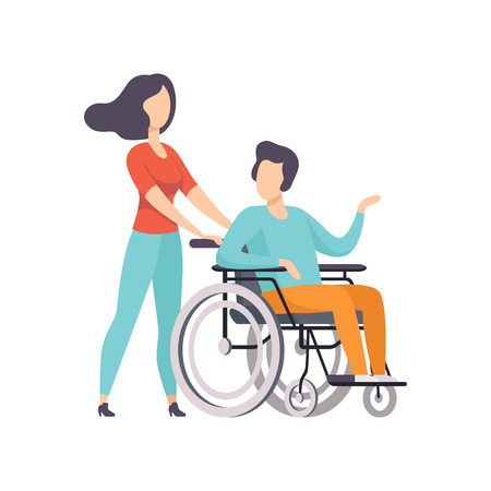 Girl pushing wheelchair with disabled man, girl supporting her friend, handicapped person enjoying full life vector Illustration on a white background Illustration