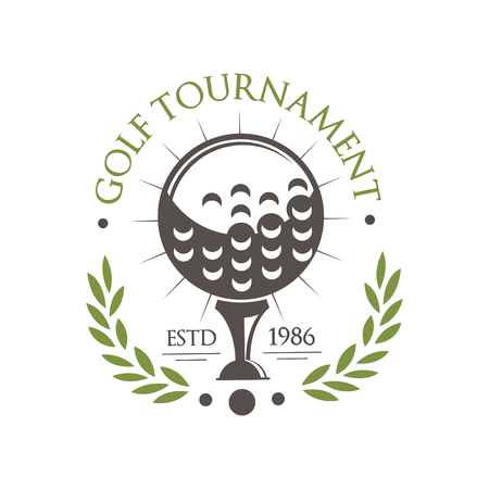 Golf tournament est 1986, retro sport label for golf championship, club, business card vector Illustration on a white background  イラスト・ベクター素材