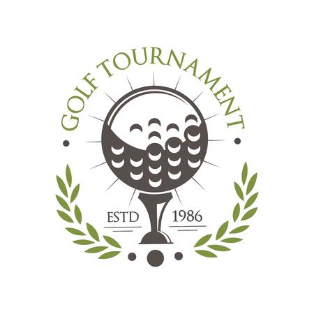 Golf tournament est 1986, retro sport label for golf championship, club, business card vector Illustration on a white background Illustration