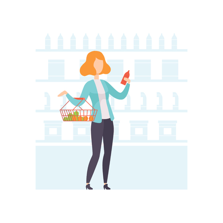 Young woman choosing products at grocery store, girl shopping at supermarket vector Illustration on a white background