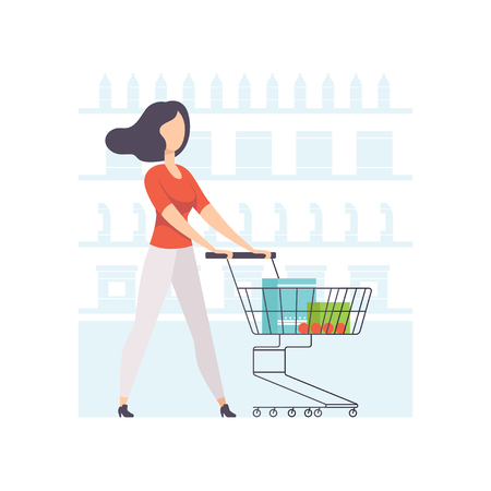 Young woman choosing products on shelves and pushing cart, girl shopping at supermarket vector Illustration on a white background