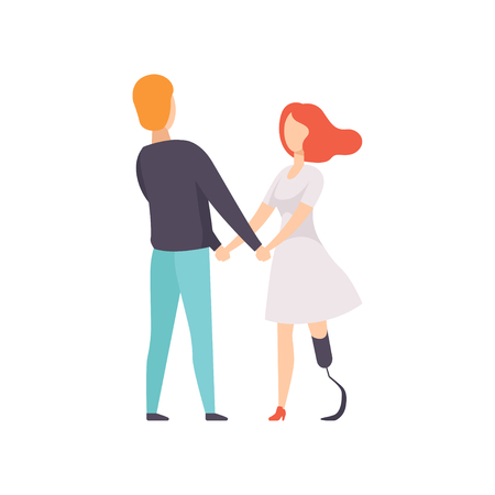 Young woman with prosthetic leg standing and holding hands with her boyfriend, disabled person enjoying full life vector Illustration on a white background