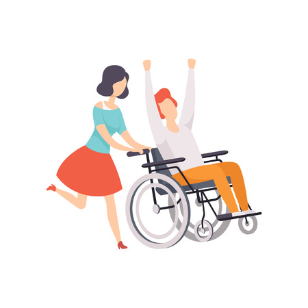 Young woman running and pushing wheelchair with happy disabled man, girl supporting her friend, handicapped person enjoying full life vector Illustration on a white background