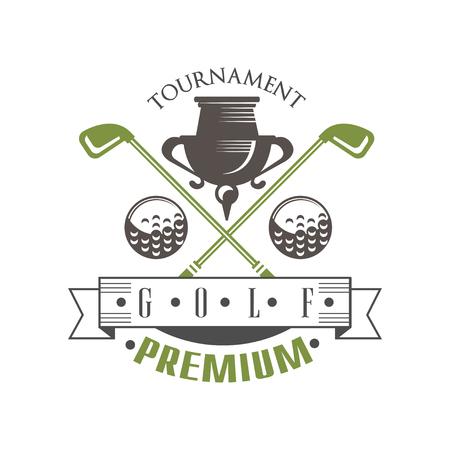 Tournament golf premium, elegant vintage sport label for golf championship, club, business card vector Illustration on a white background
