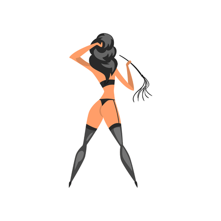 Brunette woman wearing in bdsm style standing with whip, back view vector Illustration on a white background
