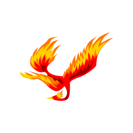 Phoenix, flaming fairytale firebird flying vector Illustration on a white background Illustration