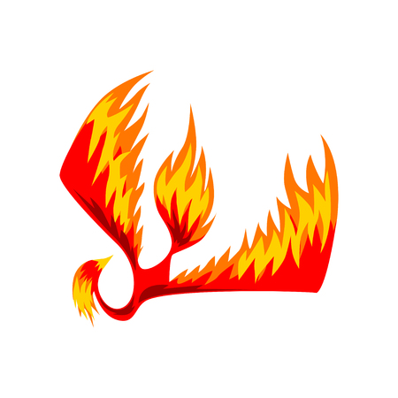 Flaming phoenix bird, mythical firebird vector Illustration on a white background