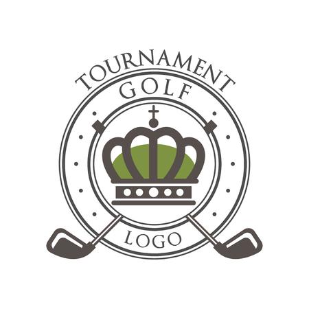 Golf tournament, elegant vintage label for golf championship, sport club, business card vector Illustration on a white background