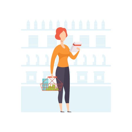 Young woman choosing products on shelves at grocery store, girl shopping at supermarket vector Illustration on a white background Illustration