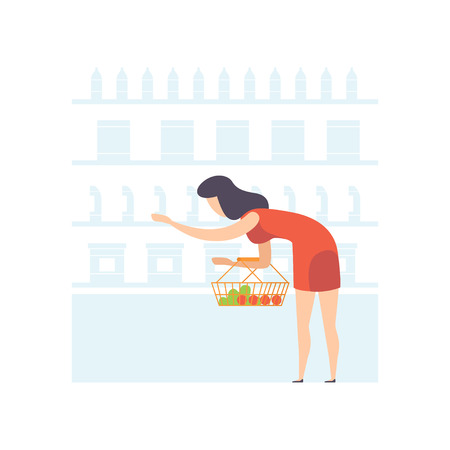 Young woman with basket choosing products on shelves at grocery store, girl shopping at supermarket vector Illustration on a white background