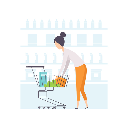 Young woman putting products in shopping cart, girl shopping at supermarket vector Illustration on a white background Illustration