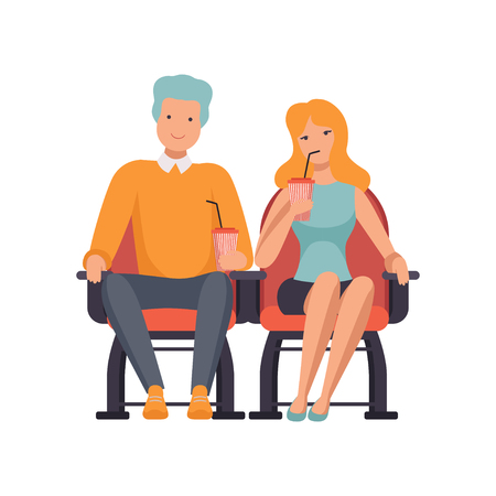 Couple watching movie in cinema theater and drinking soda drink vector Illustration isolated on a white background