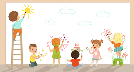 Preschool kids painting with brushes and paints on white wall vector Illustration Illustration