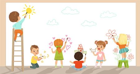 Illustrazione di vettore di bambini in età prescolare pittura con pennelli e vernici sul muro bianco Vettoriali