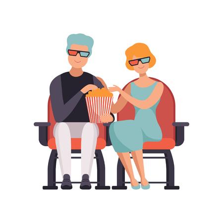 Pareja viendo la película en el cine en gafas 3d y comiendo palomitas de maíz vector ilustración sobre un fondo blanco Foto de archivo - 102521297
