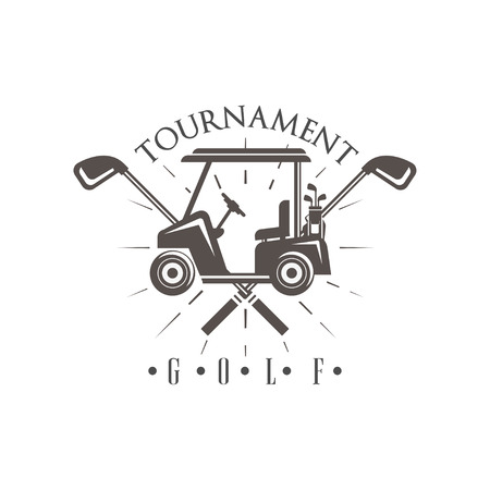 Golf tournament, vintage label for golf championship, sport club, business card vector Illustration on a white background