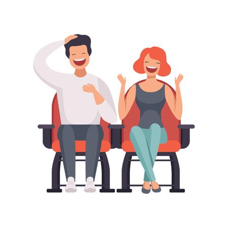 Couple souriant assis dans le cinéma théâtre et regarder le vecteur de film de comédie Illustration sur fond blanc Vecteurs
