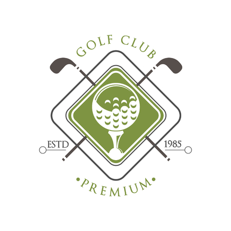 Golf club premium estd 1985, retro label for golf championship, sport club, business card vector Illustration on a white background