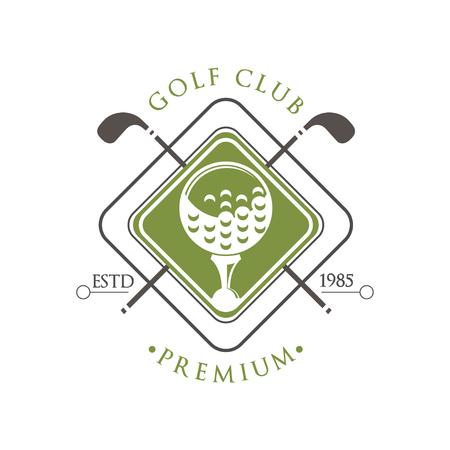 Golf club premium estd 1985, retro label for golf championship, sport club, business card vector Illustration on a white background