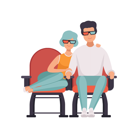Couple in love watching movie in cinema theater in 3d glasses vector Illustration on a white background