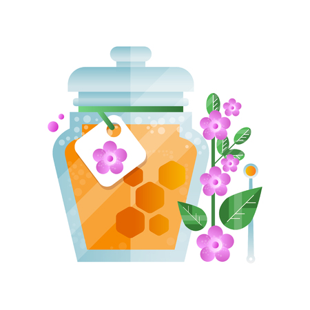 Glass jar of honey and lavender flower, natural herbal organic product vector Illustration on a white background