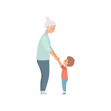 Granny and her little grandson holding hands, grandmother spending time playing with grandson vector Illustration on a white background Illustration