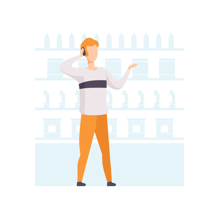 Young man talking on phone while choosing products on shelves at grocery store, man shopping at supermarket vector Illustration on a white background Illustration