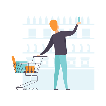 Young man choosing products on shelves and pushing cart, guy shopping at supermarket vector Illustration on a white background