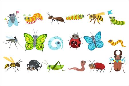Zestaw obrazów kreskówek owadów