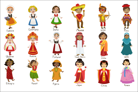 Conjunto de niños en trajes nacionales