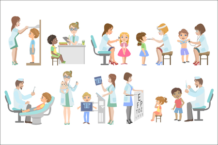 Kids On Medical Examination Stock Illustratie