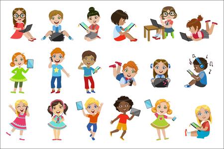 Conjunto de niños con gadgets