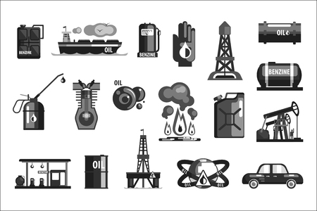 Oil Production Set Of Icons