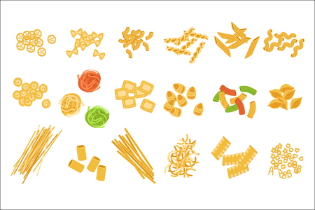 Set di tipi di pasta italiana classica