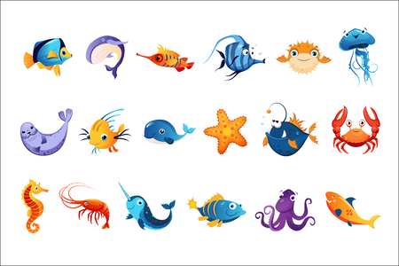 Colorful Sea Animals Set Reklamní fotografie - 102705840