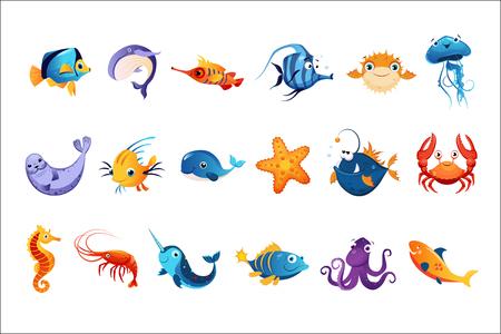 Colorful Sea Animals Set