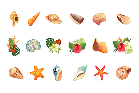 Realistic Tropical Icons Set Vectores